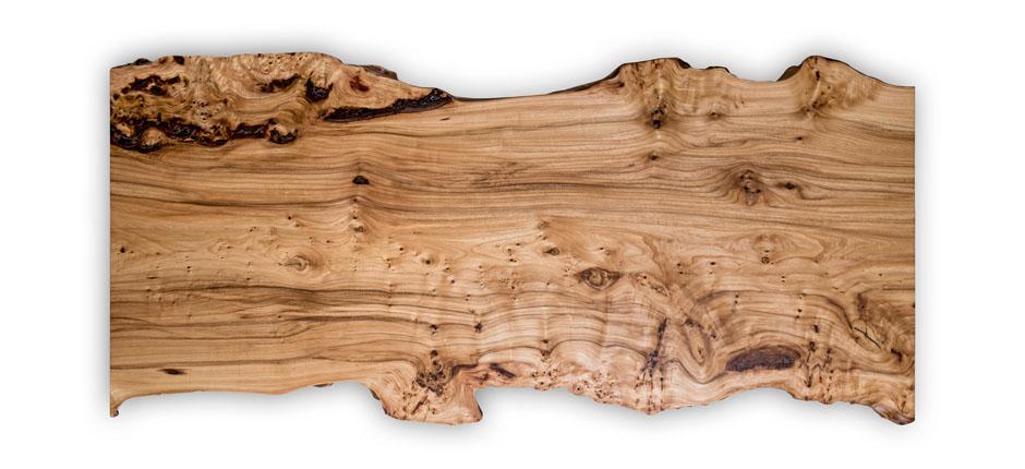 Tischplatte aus Ulmenholz mit Waldkante